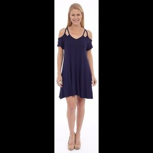 Navy Cold Shoulder Dress w/pockets
